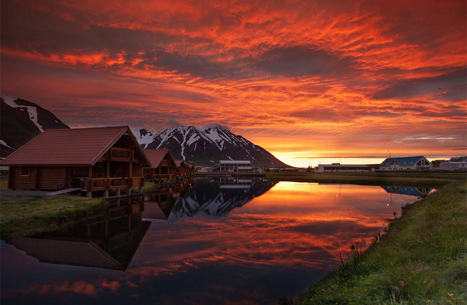 beautiful sunset over ólafsfjörður, iceland