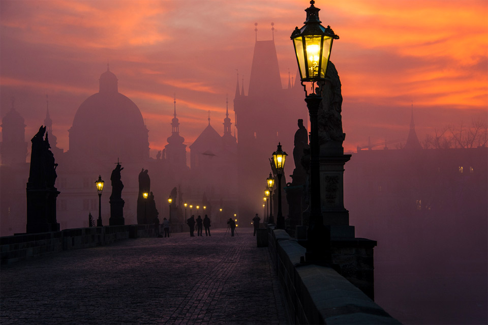 charles bridge in dusk, prague
