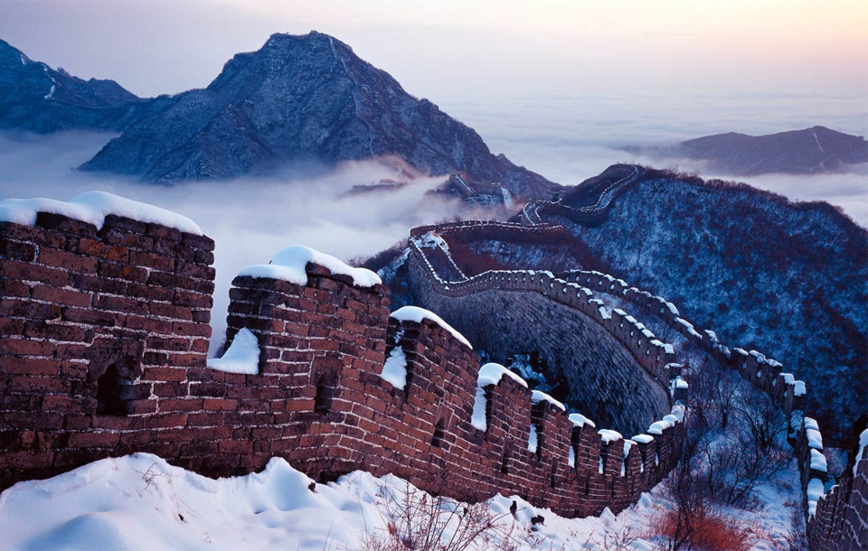 great wall under snow, china