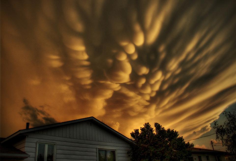 mammatus clouds over quebec, canada