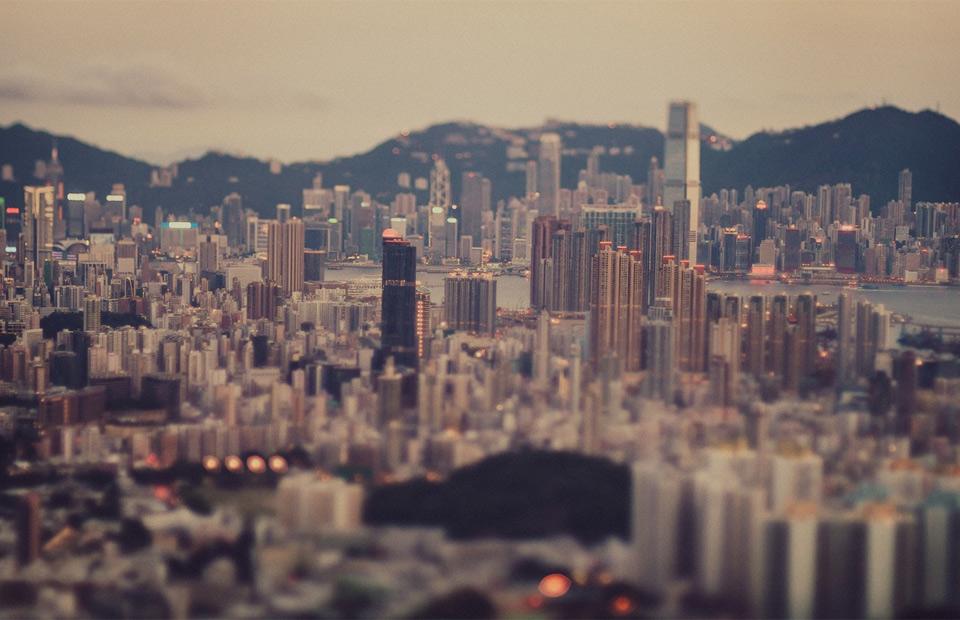 hong kong cityscape in tilt-shift