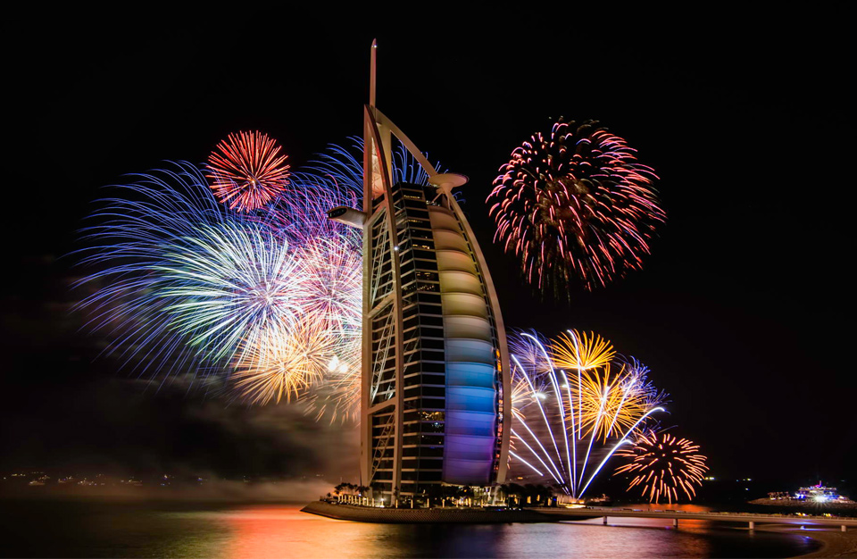 new year`s firework over burj al arab, dubai