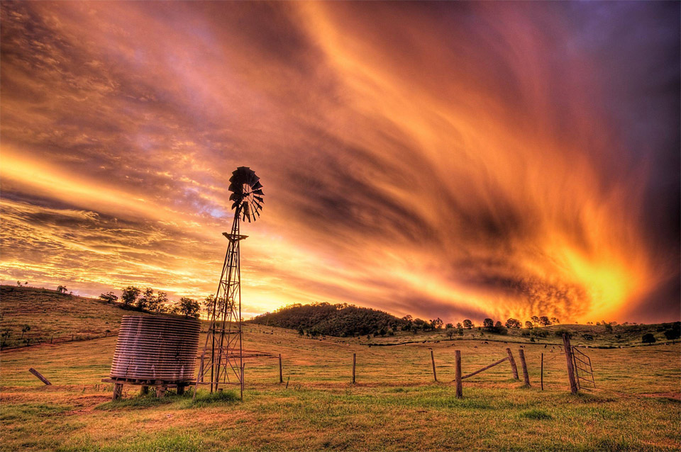 sunset over rural australia