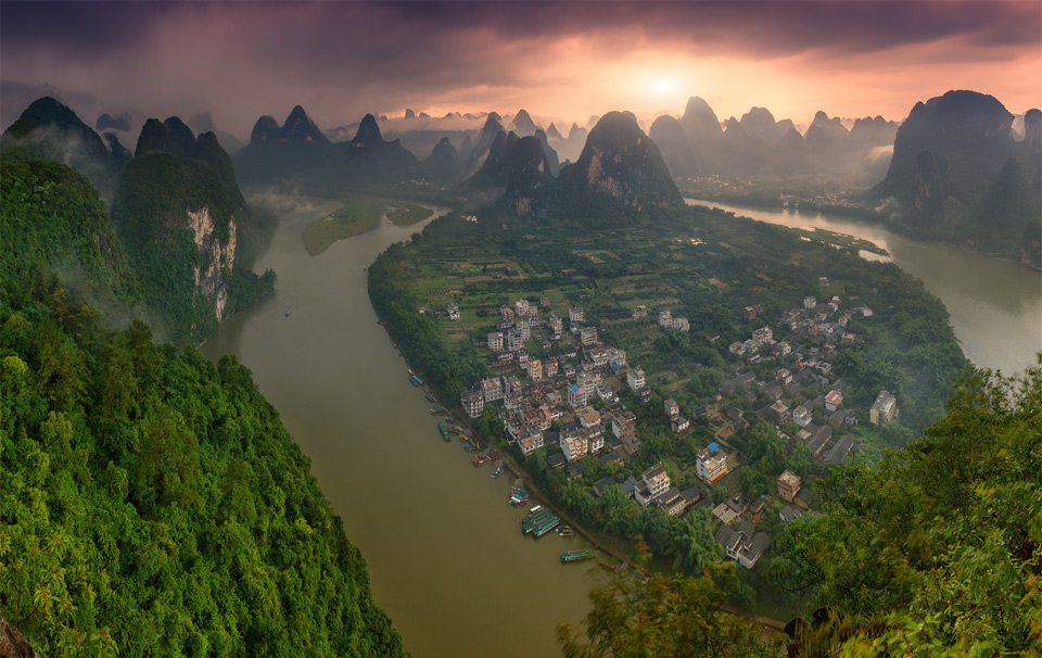 village on a li river, china
