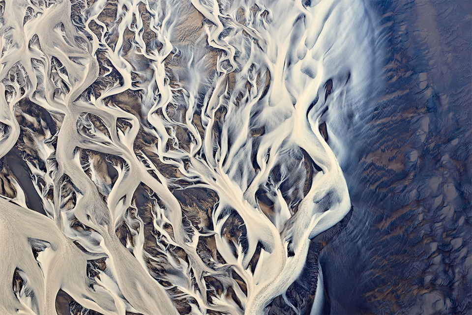 aerial shot of a river delta in iceland