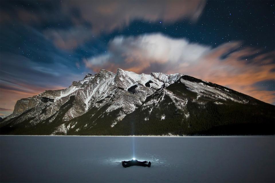 frozen lake minnewanka at night, canada