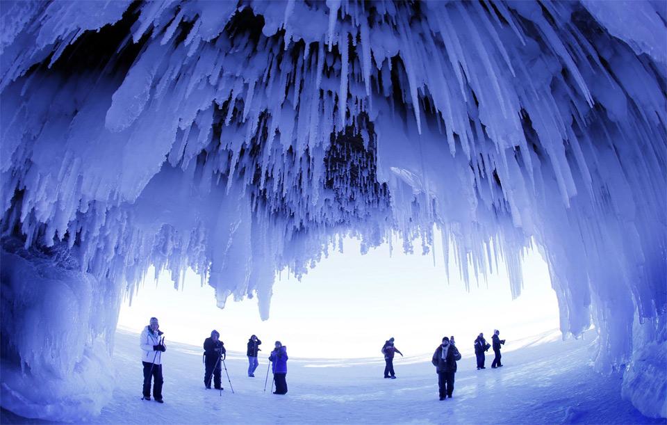 icicles dazzle in lake superior