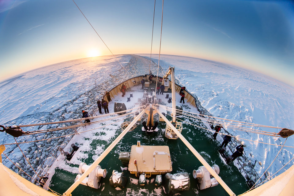 breaking the ice, finish lapland at bothnian sea