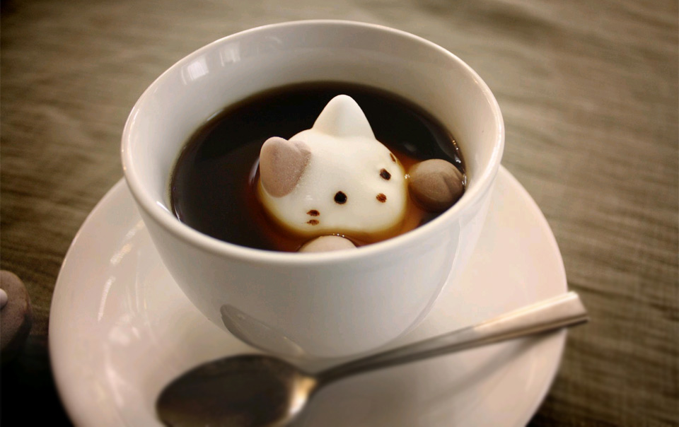 marshmallow cat inside coffee mug