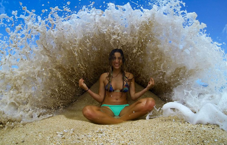 perfect timing, girl under wave