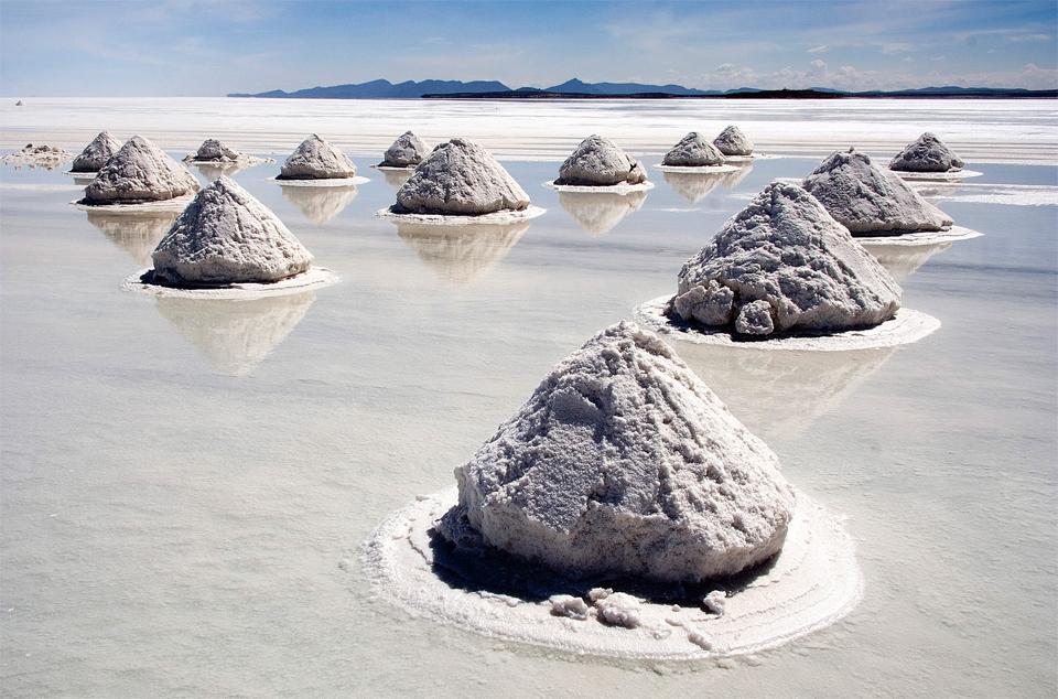 salt piles in salar de uyuni, bolivia