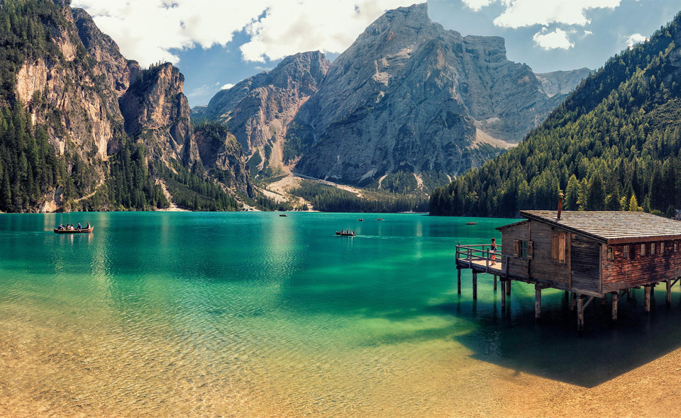 cabin in lake prags, italy