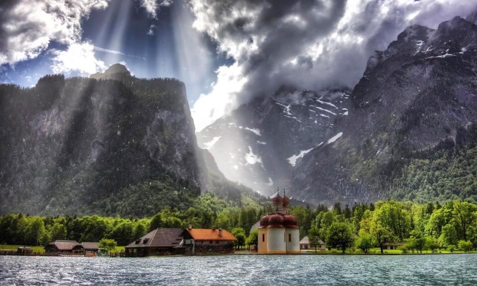 church on a lake, bavaria, germany