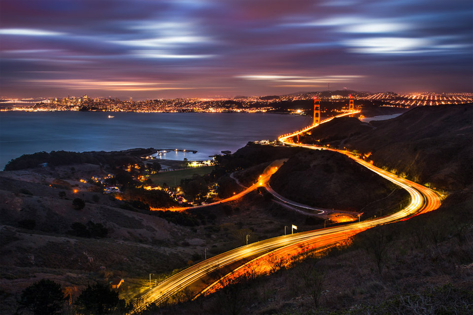 curves of golden gate bridge, san francisco