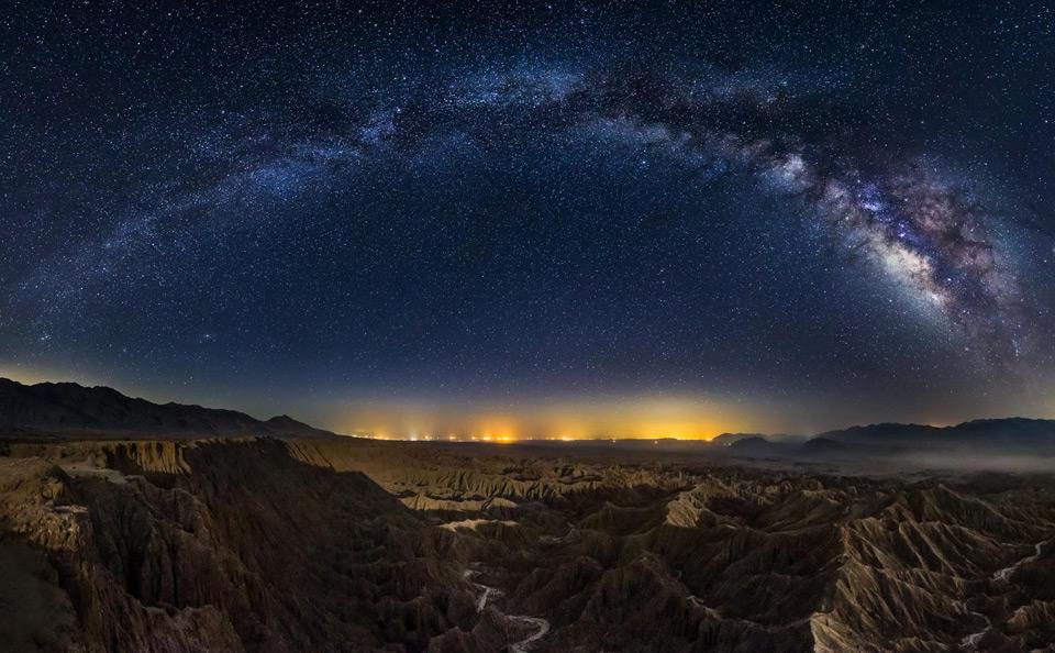 milky way over california canyons