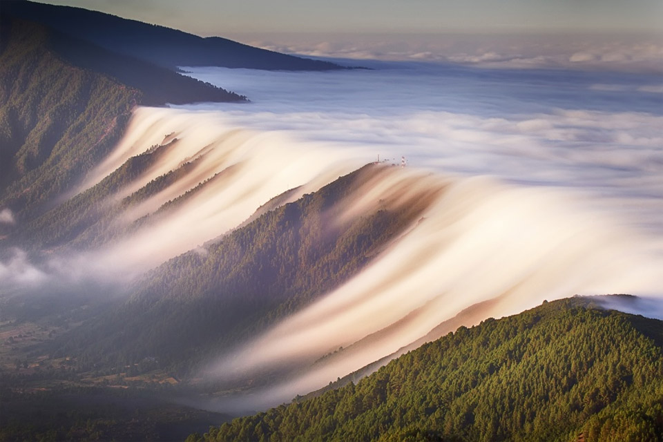 waterfall of clouds, canary islands, spain