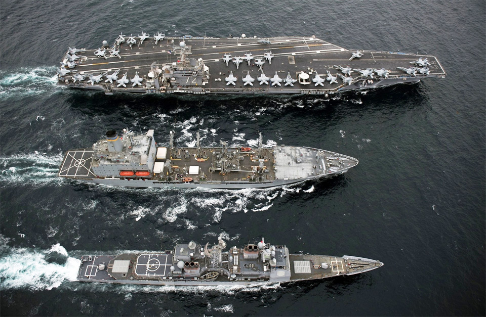 USS abraham lincoln aircraft carrier with fleet