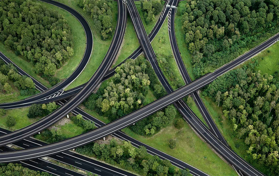 aerial view of highway interchange, germany