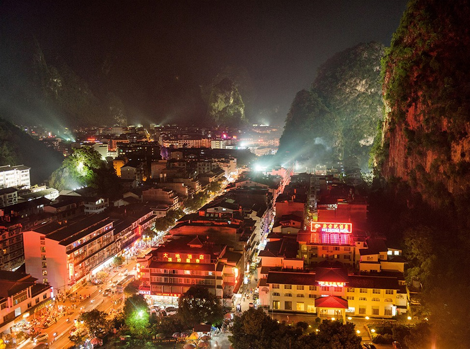 city between rocks, yangshuo, china