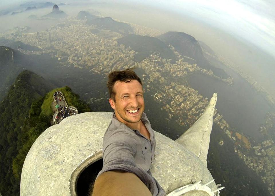 selfie at the top of christ the redeemer statue, rio de janeiro