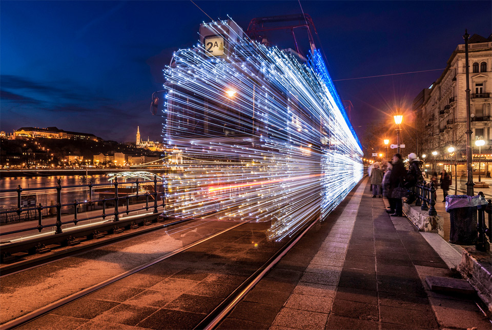 tram with LED lights, budapest