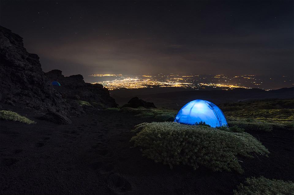 camping at mount etna, sicily, italy