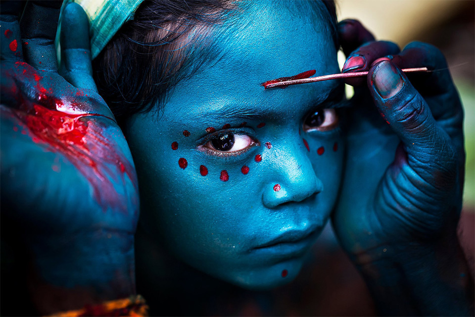 "girl at ""the great night of shiva"" festival, india"