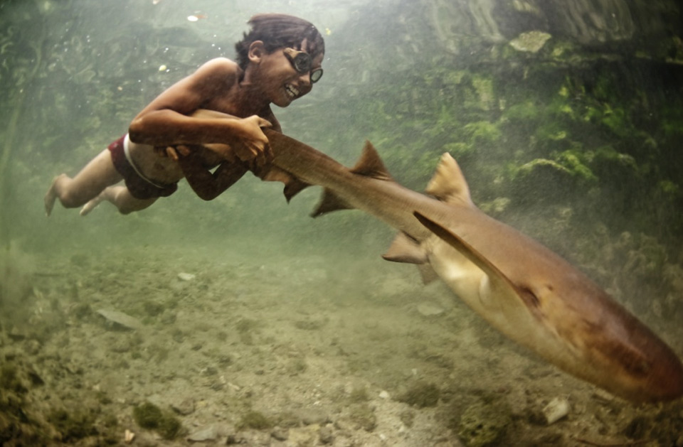 happy kid with his pet shark, indonesia