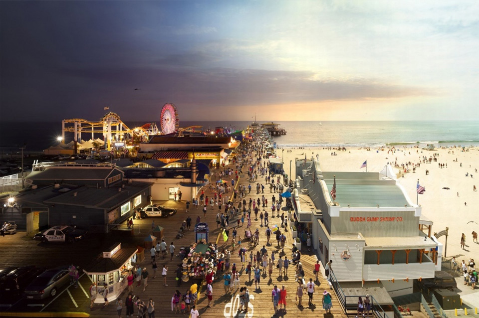 santa-monica-pier,-california-day-to-night