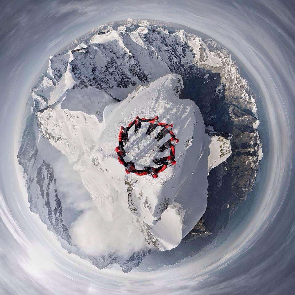 selfie from a drone at alpes top, switzerland
