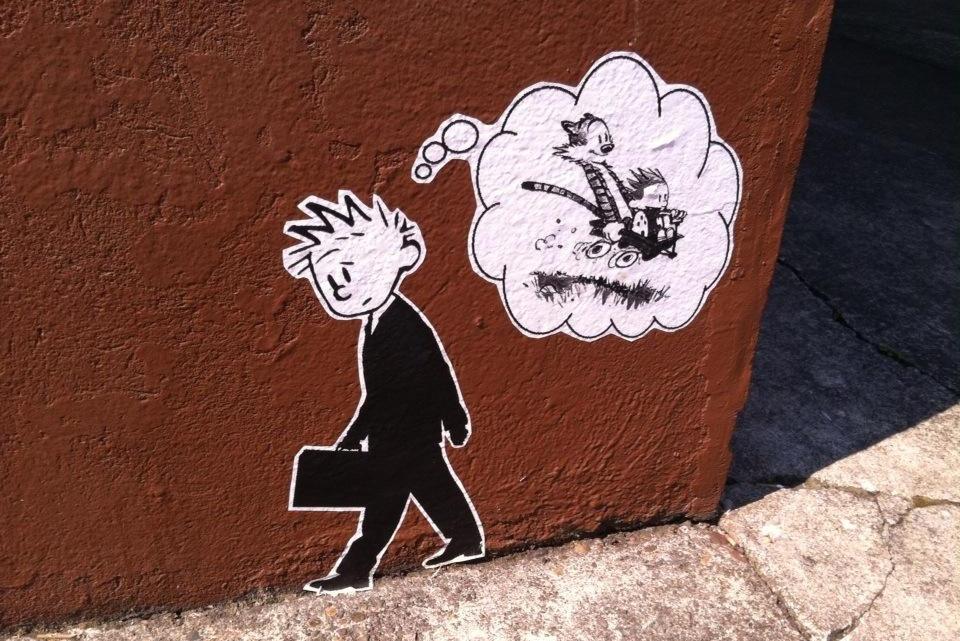 calvin and hobbes street art, portland