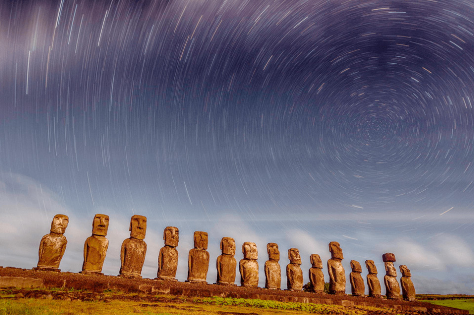 star trails over rapa nui national park, easter island