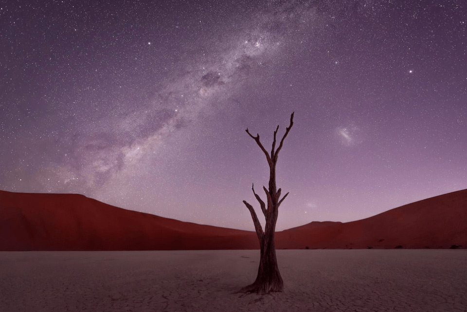 starry sky over namib desert