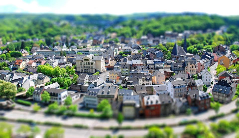 tilt-Shift photo of idar-Oberstein town, germany