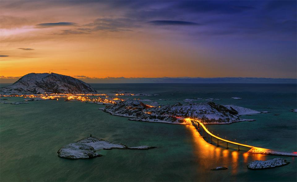 Bridge To Tromso By Night, Norway