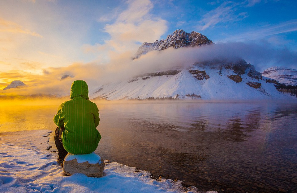 Looking at Bow Lake in Canada's Banff National Park