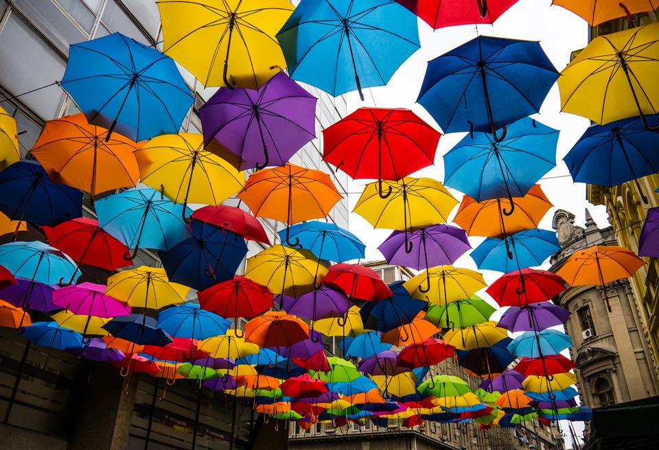 umbrella street, belgrade, serbia