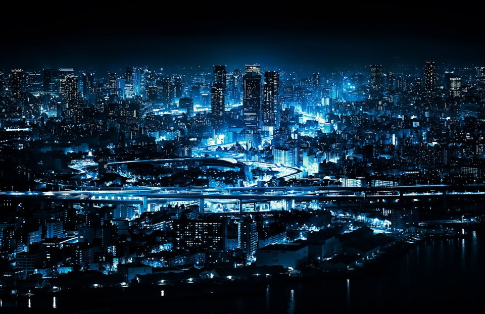 Blue Ligts of Osaka at Night, Japan