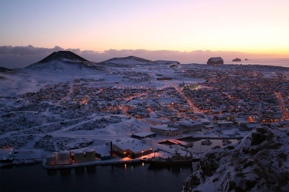 Small Town of Vestmannaeyjar in Sunset, Iceland