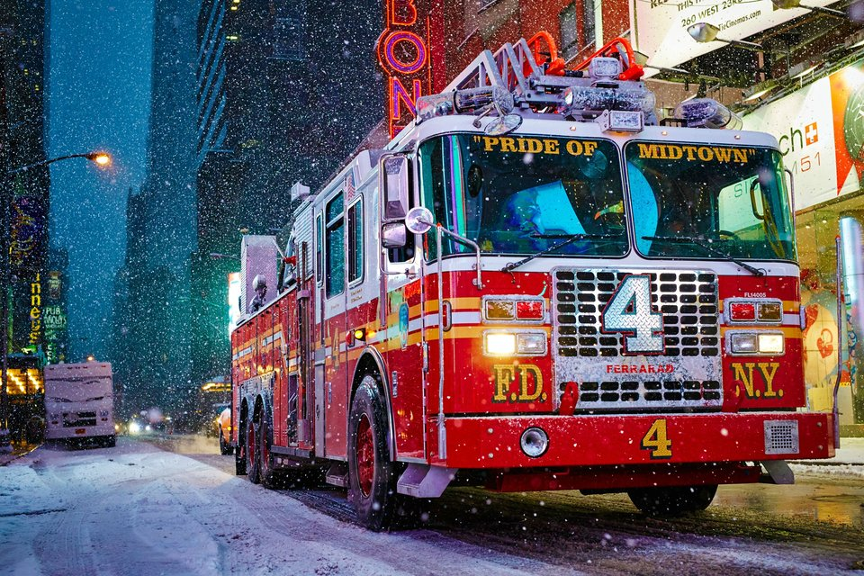 New York City Fire Engine During Snow Storm Photo | One Big