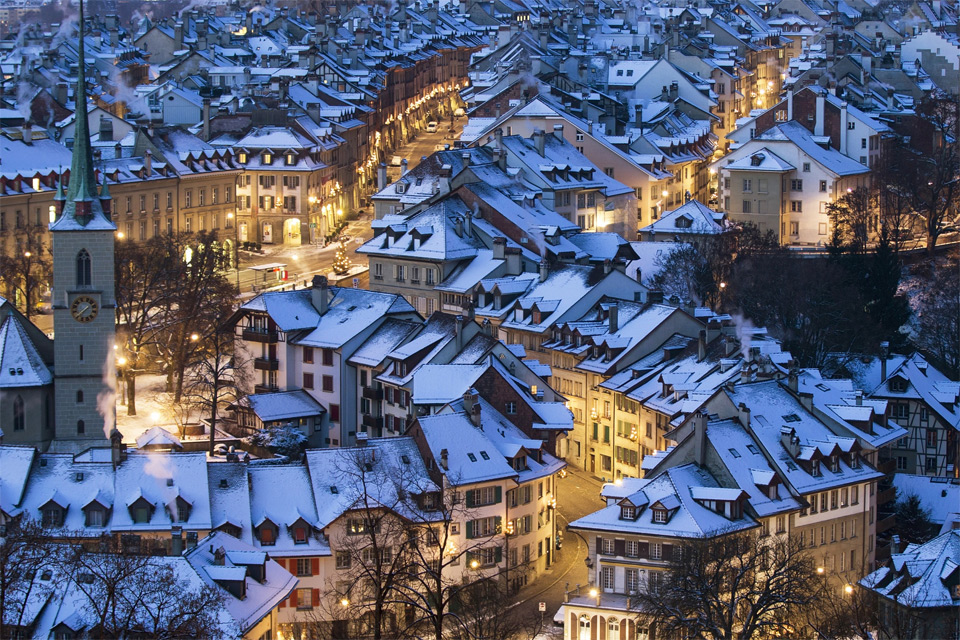 Snow-Covered Beautiful City of Bern, Switzerland