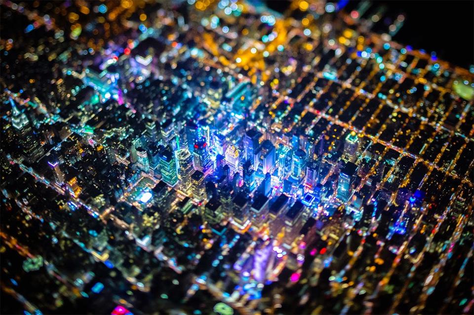 Tilt-Shift Of New York City At Night