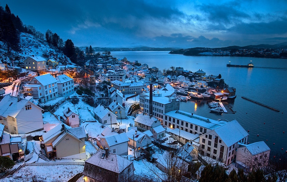 Blue Dusk At Salhus Village Near Bergen, Norway