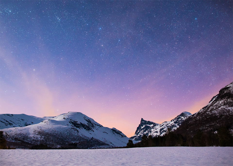 Moonlight Over Hornindalsrokken Mountain, Norway