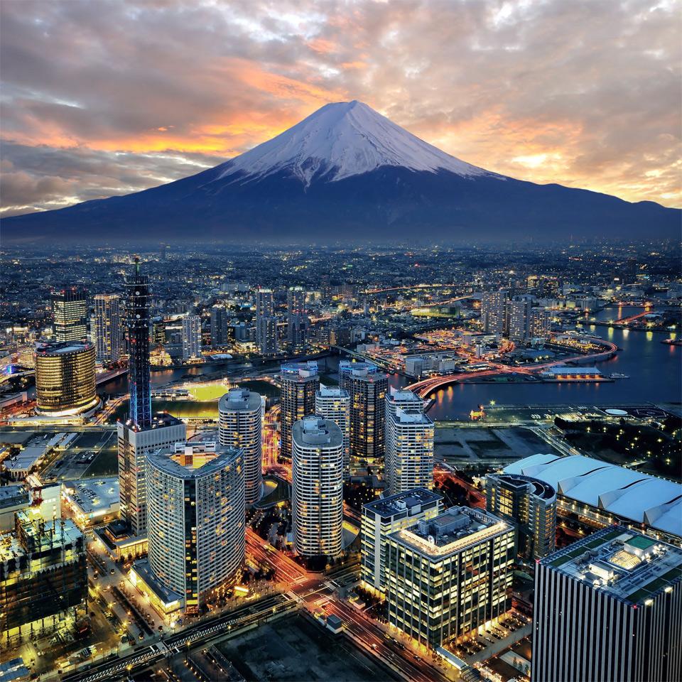 Mount Fuji Overlooking City Of Yokohama