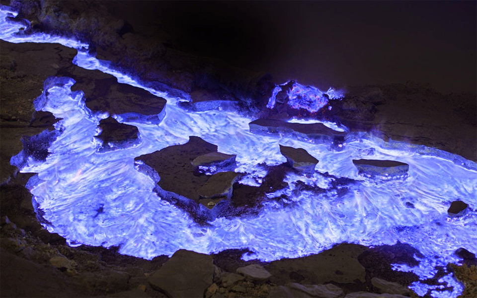 Flaming Sulfur From Volcano, Indonesia