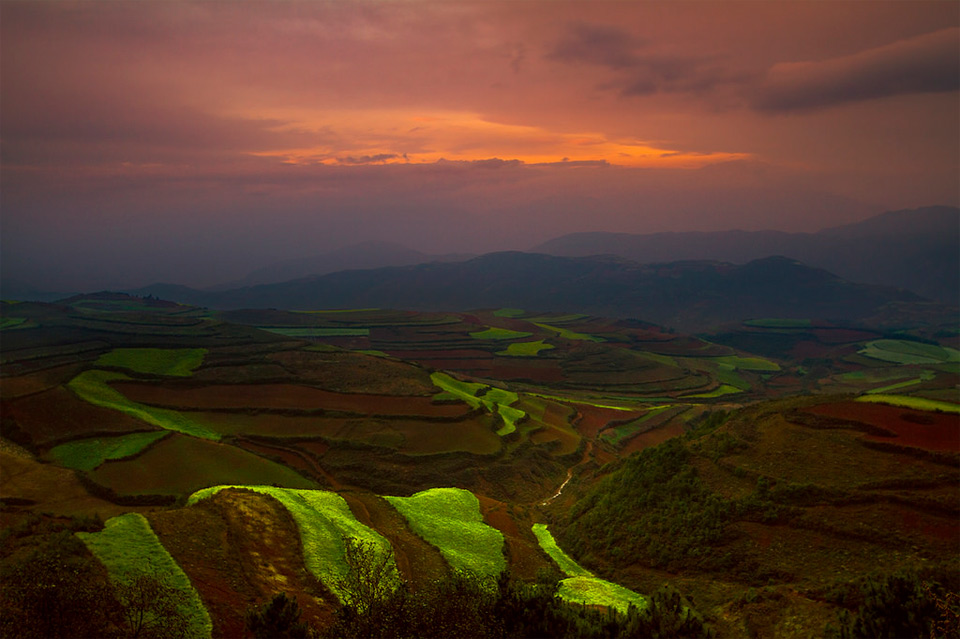 Sunset, Dongchuan Red Land, China