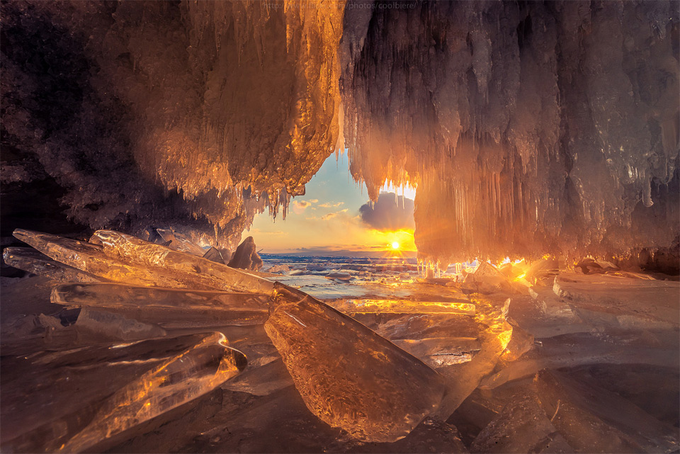 Sunset Through Ice Cave, Lake Baikal, Russia