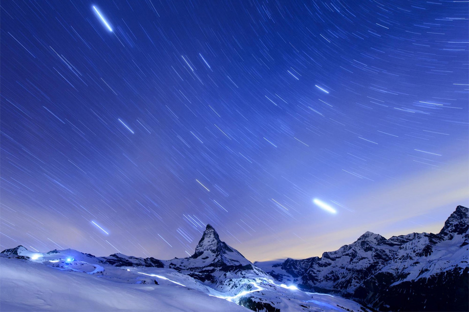 Stars In The Night Sky Over Matterhorn Mountain, Switzerland