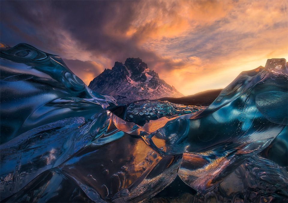Sunrise Below Crystal Icebergs, Chile